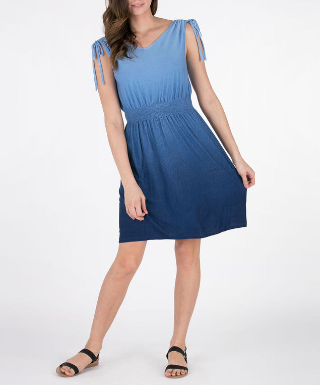 Ruched Double-V Sundress, Blue, hi-res