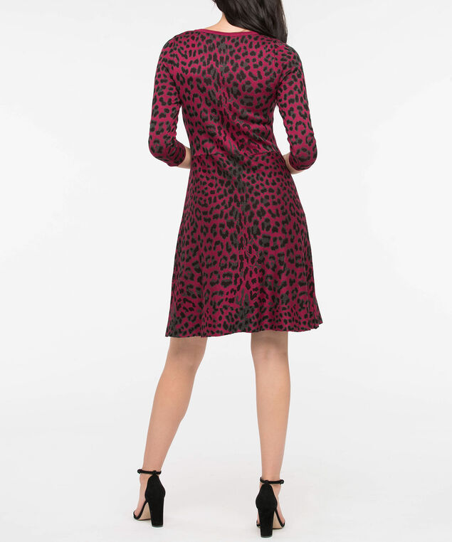 Jacquard Animal Print Sweater Dress, Red/Black/Grey, hi-res