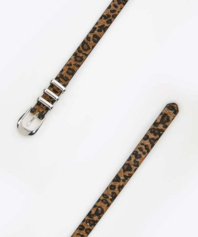 Animal Print Belt, Brown, hi-res