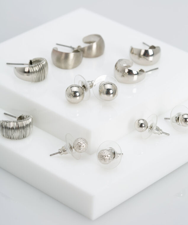 Stud & Hoop Earring Set, Rhodium, hi-res