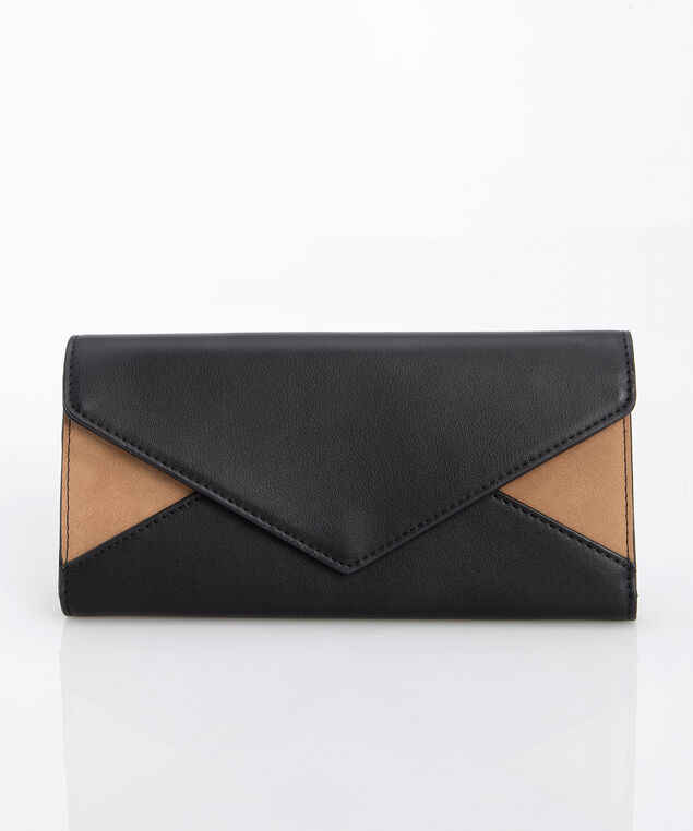 Colourblock Folding Wallet, Black/Camel, hi-res