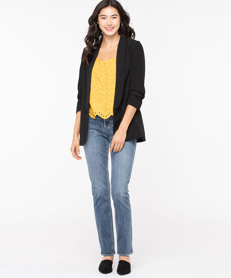 Soft Woven Stretch Open Blazer, Black, hi-res