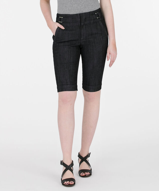 Silver Buckle Trouser Short, Dark Rinse, hi-res