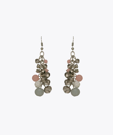Faceted Stone & Bead Cluster Earring, Pink/Blue/Clear/Rhodium, hi-res