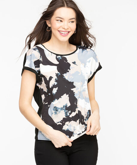 Extended Sleeve Mixed Media Top, Black/Nomad/Blue Abstract, hi-res