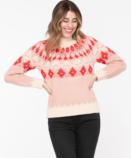 Fair Isle Mock Neck Sweater, Pastel Pink/Cherry Red/Almond, hi-res