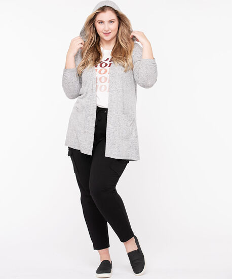 Hooded Tunic Length Open Cardigan, Grey Mix, hi-res