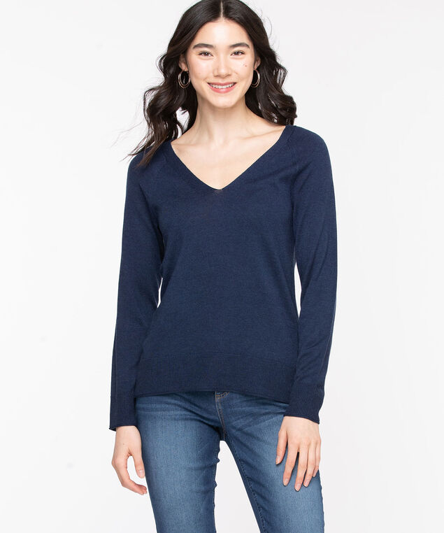 V-Neck Fine Gauge Pullover Sweater, Peacoat