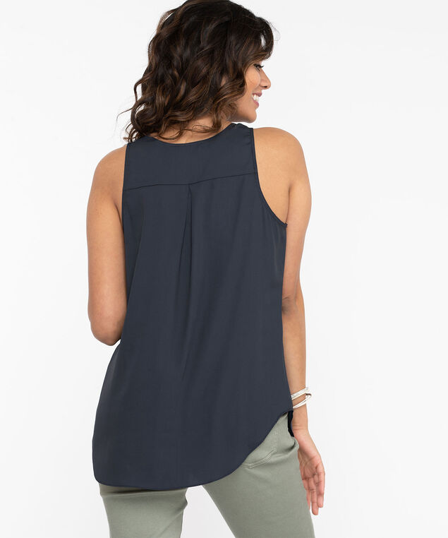Pleat Back Woven Essential Cami, Peacoat