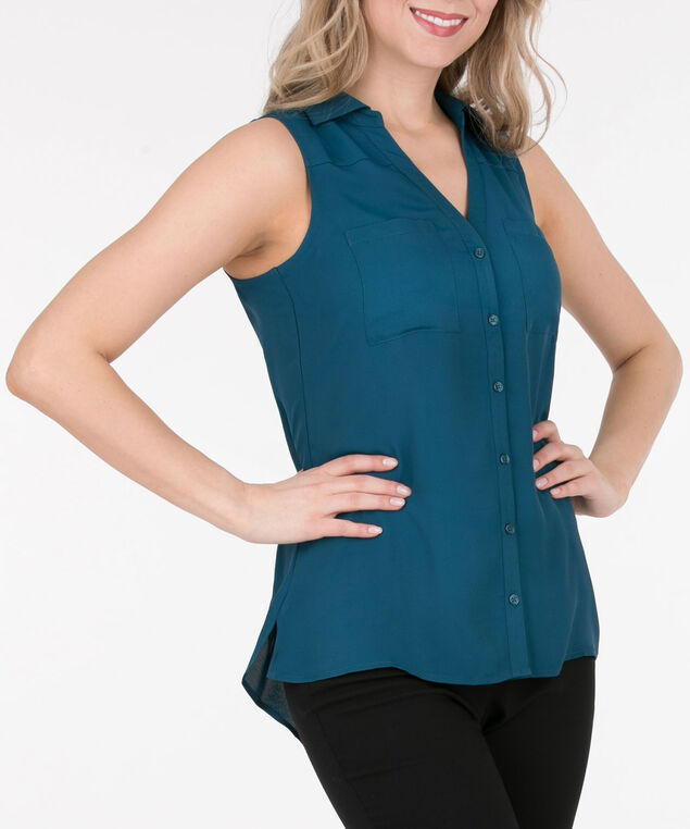 Sleeveless Collared Button-Down Blouse, Midnight Teal, hi-res