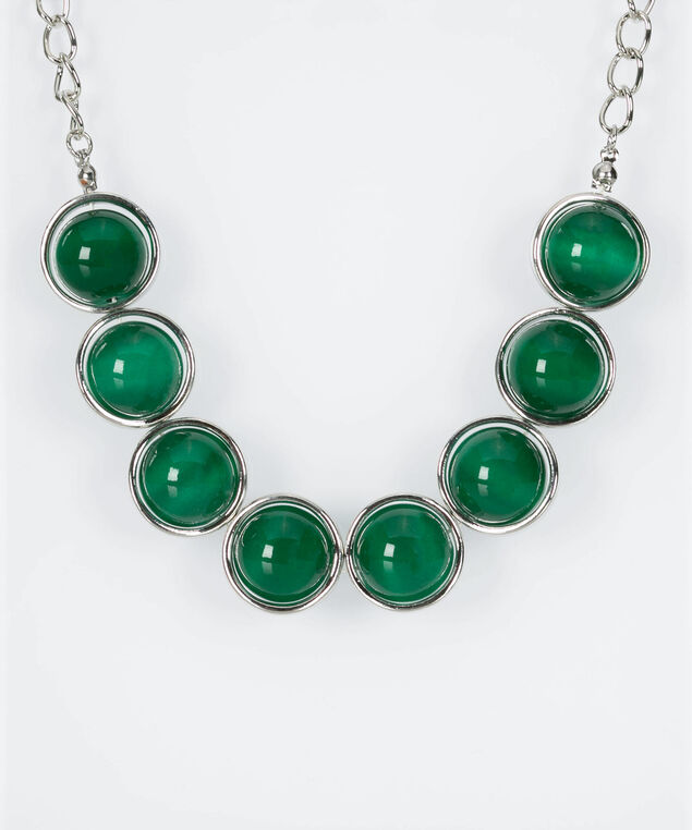 Cateye & Silver Ring Statement Necklace, Green/Rhodium, hi-res