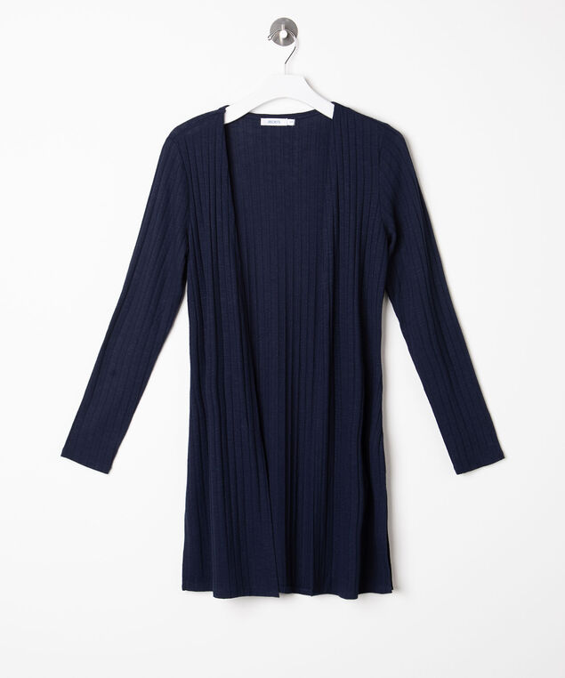Ribbed Longline Open Cardigan, Summer Navy, hi-res
