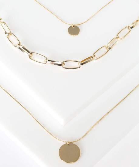 Circle Pendant Chainlink Layered Necklace, Gold, hi-res