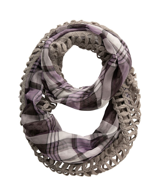 Plaid Woven-Knit Eternity Scarf, Purple/Grey, hi-res