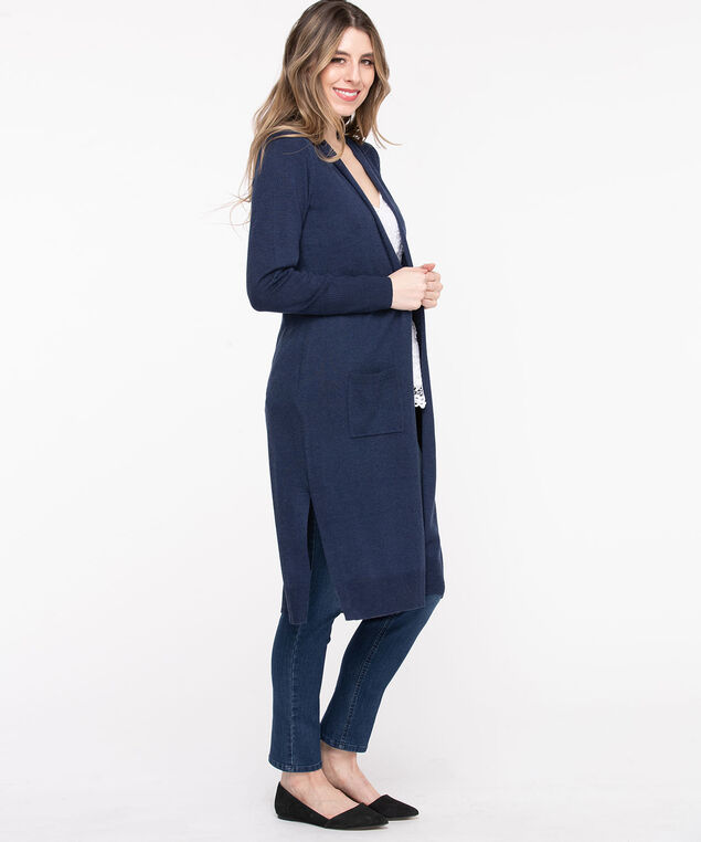 Side Slit Open Duster Cardigan, Peacoat
