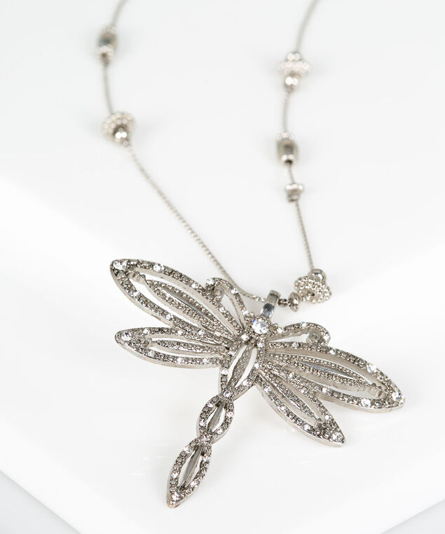 Stationed Bead & Dragonfly Pendant Necklace, Rhodium, hi-res
