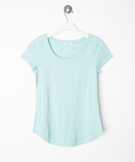 Short Sleeve Scoop Neck Tee, Summer Aqua, hi-res