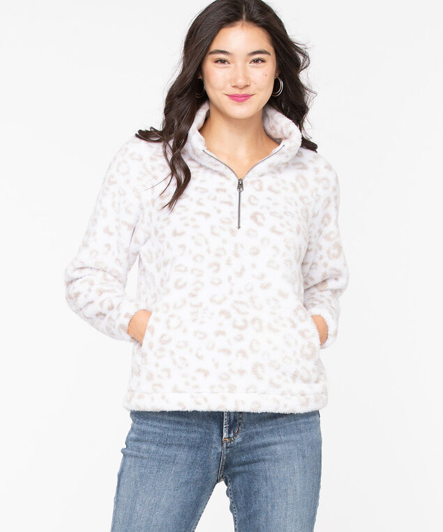 Sherpa Half-Zip Pullover, Pearl/Oatmeal