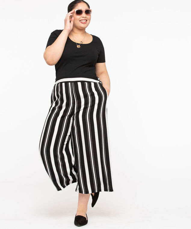 Stripe Wide Leg Crop Pant, Black/Pearl/Sand, hi-res