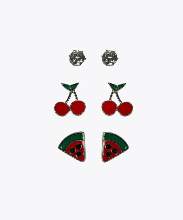 Earring Trio Set, Poppy/Rhodium, hi-res