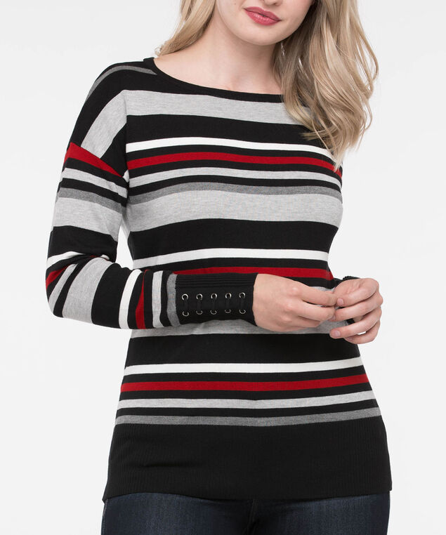 Lace Up Cuff Boatneck Sweater, Black/Grey/Crimson, hi-res