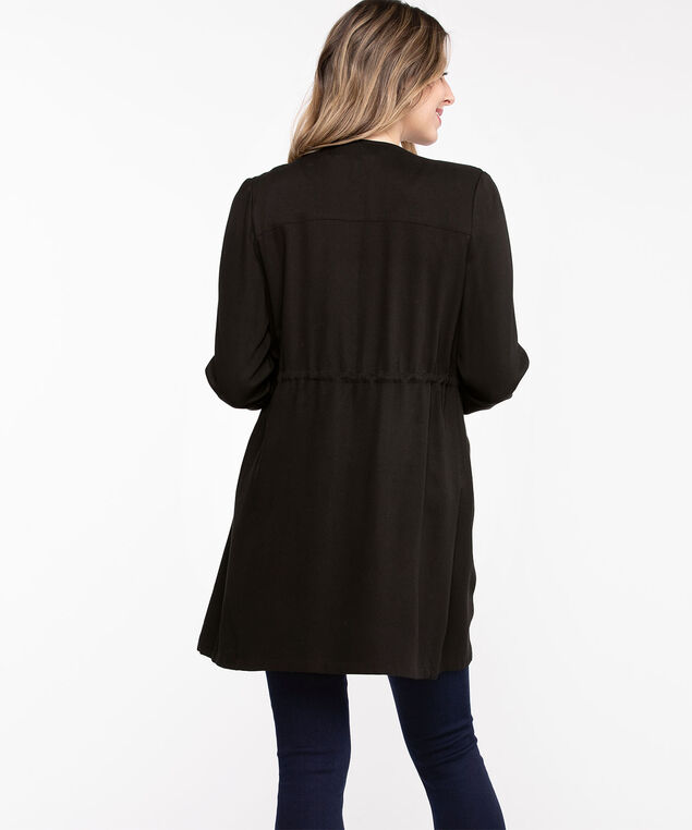 Long Sleeve Drape Front Jacket, Black