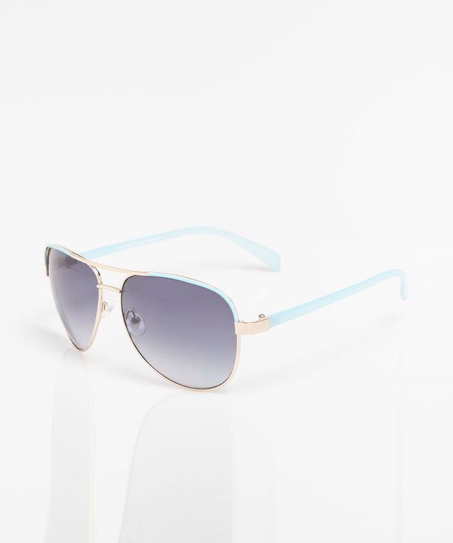 Pale Blue Aviator Sunglasses, Pale Blue/Gold, hi-res