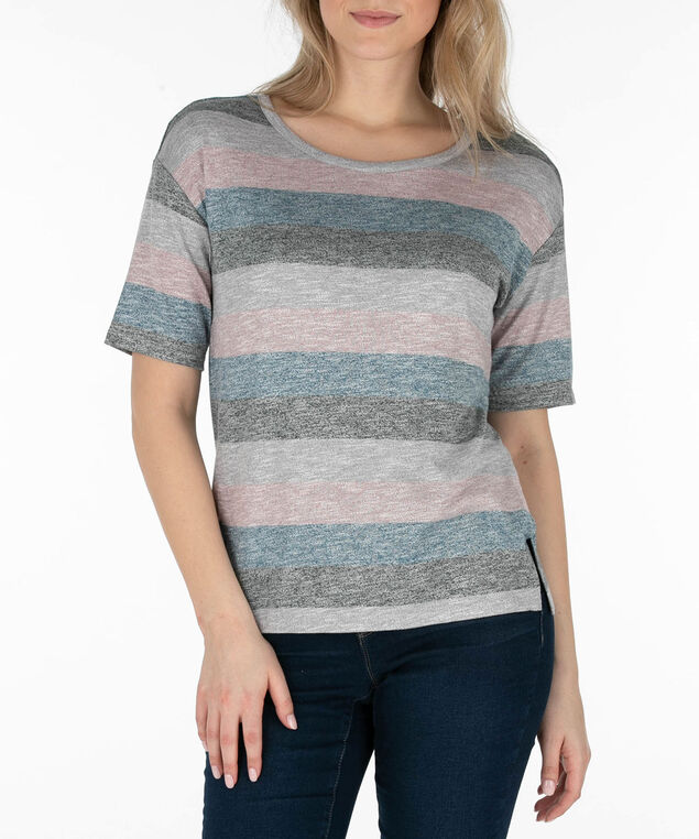 Dolman Sleeve Striped Knit Top, Grey/Indigo/Coral, hi-res