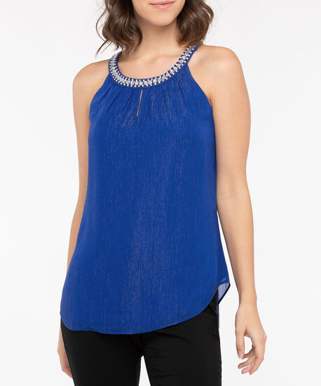 Beaded Pleat Neck Halter Blouse, Cobalt Sparkle, hi-res