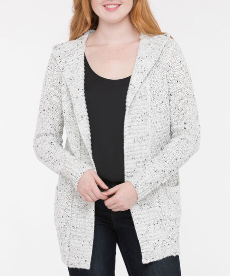 Ribbed Detail Hooded Open Cardigan, Pearl Mix, hi-res