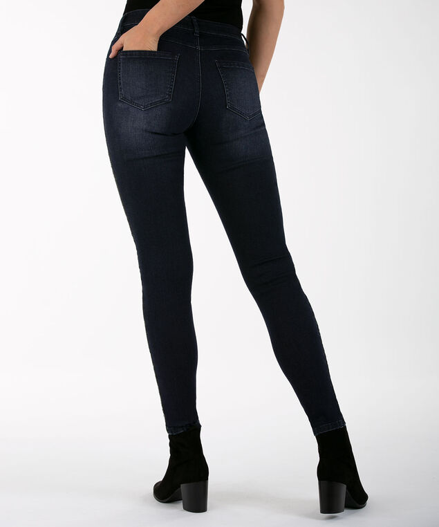 Beaded Stripe Jegging, Dark Wash, hi-res