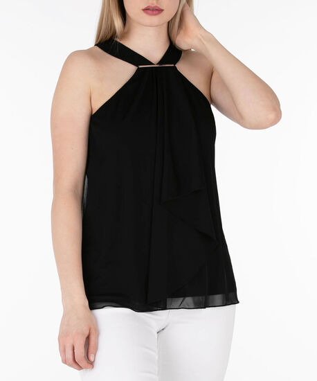 Ruffle Front Halter Top, Black, hi-res