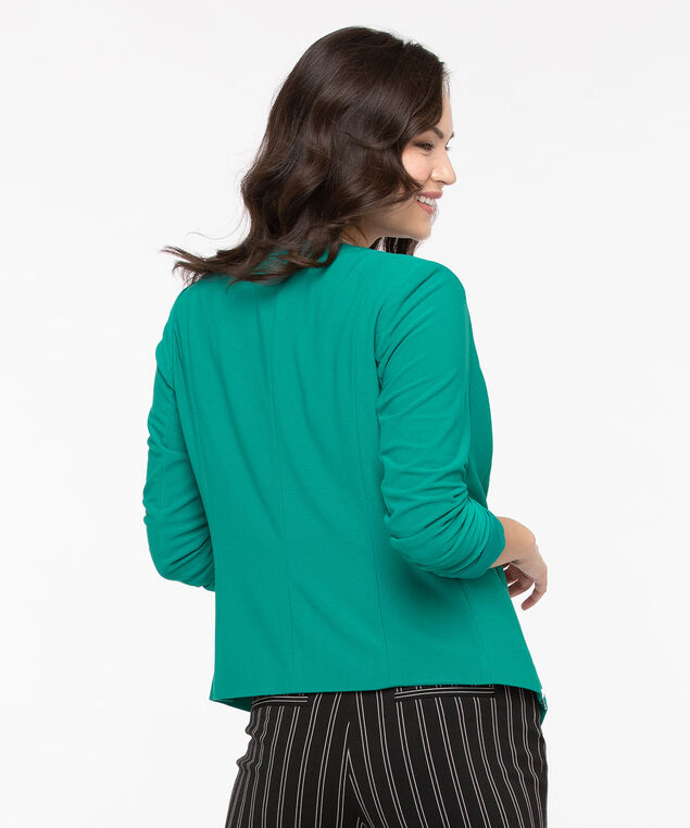 Zipper Trim Easy Stretch Blazer, Jade, hi-res