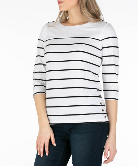 Nautical Stripe Top, White/Black, hi-res