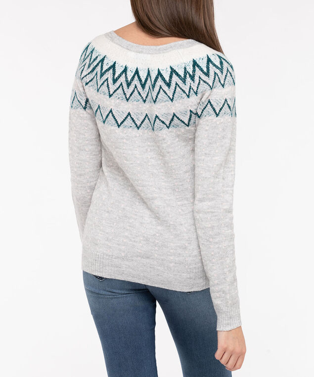 Fair Isle Pullover Sweater, Light Heather Grey/Teal/Blush, hi-res