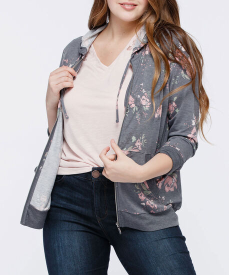 French Terry Zip Front Hoodie, Grey/Petal Pink/Light Sage, hi-res