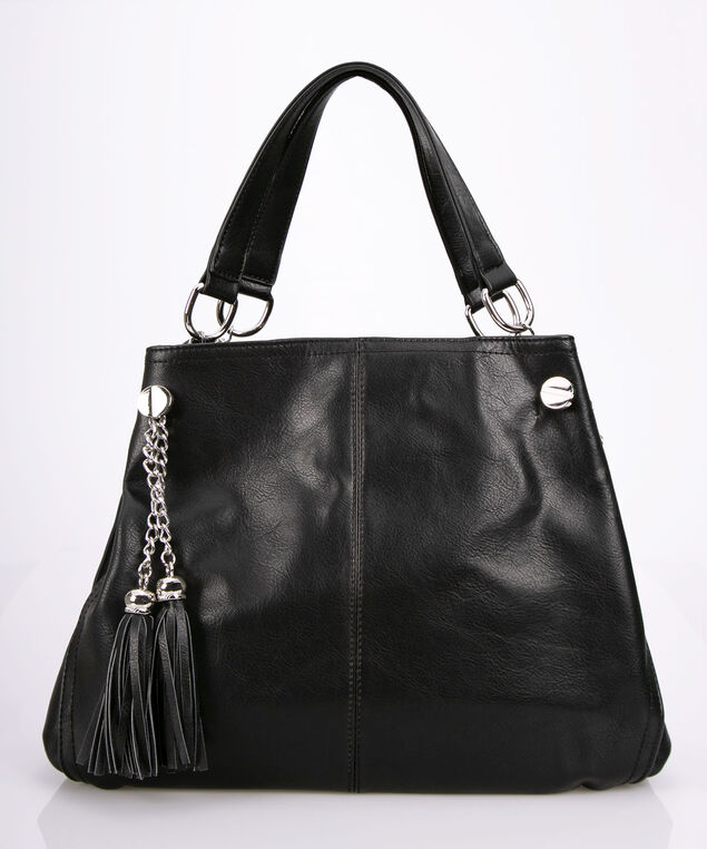 Slouchy Tassel & Chain Satchel, Black, hi-res