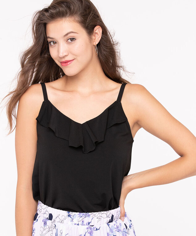 Strappy Ruffle Front Tank, Black, hi-res