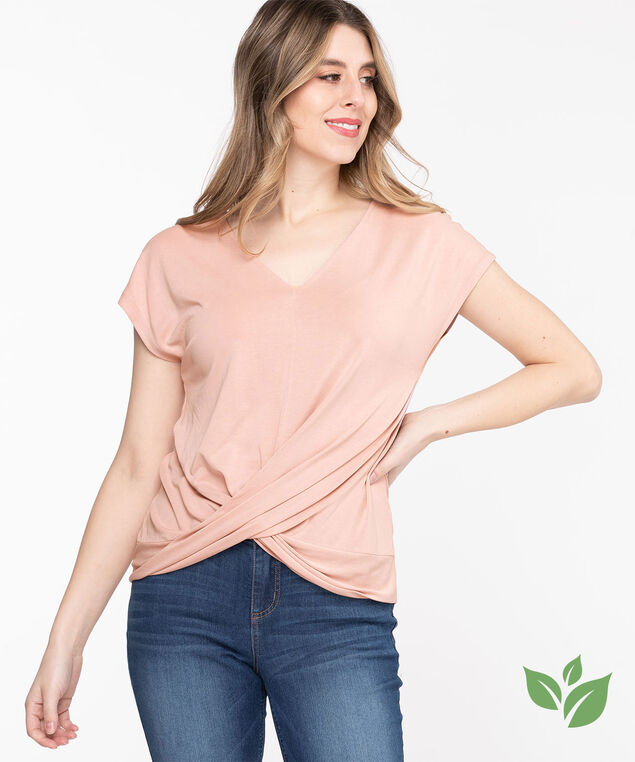Eco-Friendly V-Neck Twist Hem Top, Rose Smoke