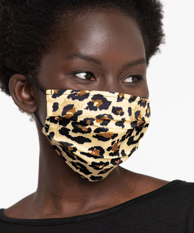 Cotton Face Mask 2-Pack, Black Leopard
