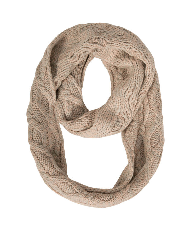 Chunky Cable Knit Eternity Scarf, Iced Peach/Grey, hi-res