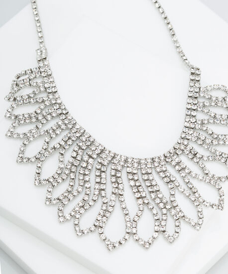 Crystal Statement Necklace, Rhodium, hi-res