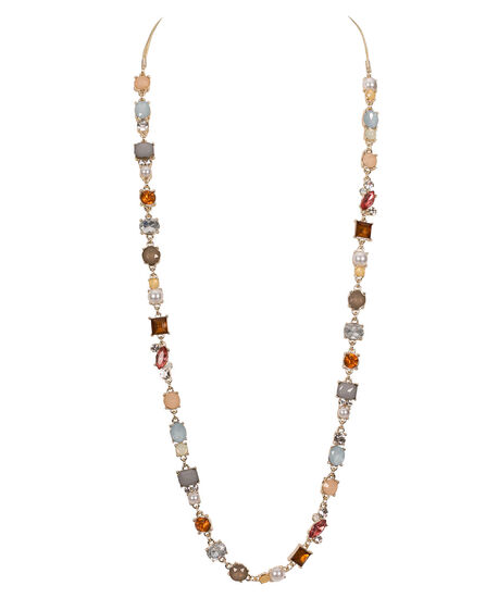 Faceted Stone & Pearl Necklace, Peach/Blue/Pearl/Gold, hi-res