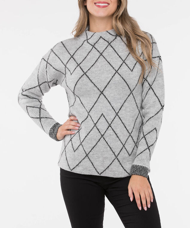 Argyle Funnel Neck Pullover Sweater, Light Heather Grey/Black, hi-res