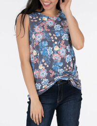 Sleeveless Twist Front Floral Top