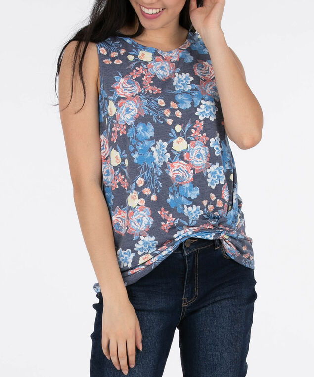 Sleeveless Twist Front Floral Top, Blue/Coral/Yellow, hi-res