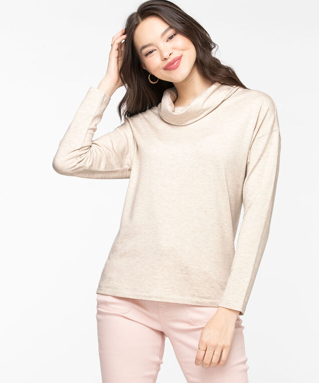 Oatmeal Cowl Neck Knit Top, Oatmeal