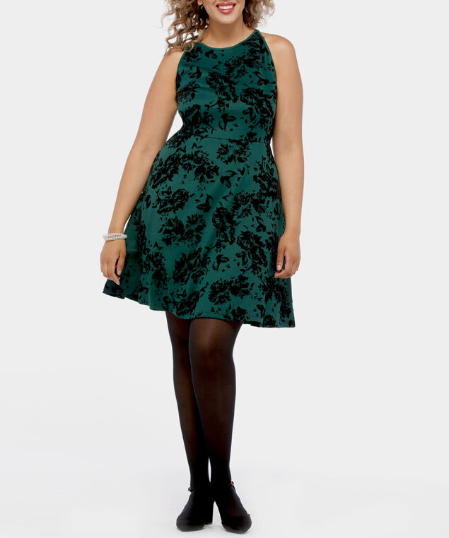 Flocked Floral Fit & Flare Scuba Dress, Ivy/Black, hi-res