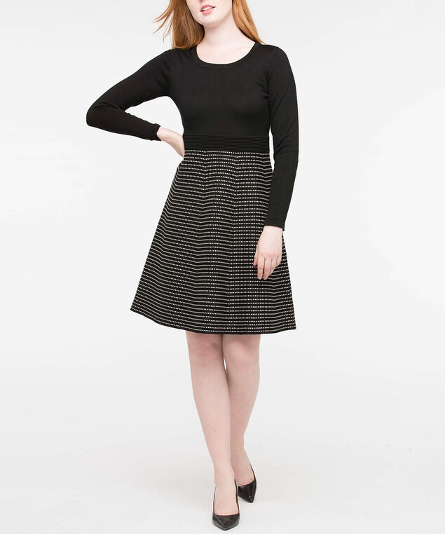 Long Sleeve Scoop Neck Sweater Dress, Black/Pearl, hi-res
