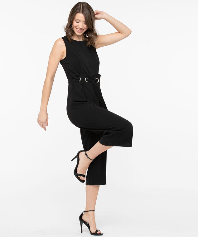 PaperBag Waist Cropped Jumpsuit, Black, hi-res